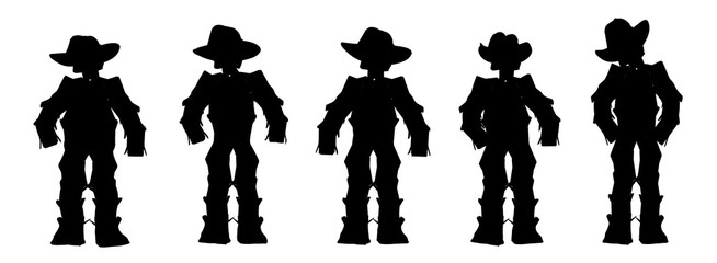 Cowboys in silhouette on a white background