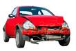 Rotes Unfallauto auf weißem Hintergrund