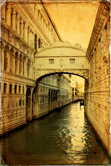 The Bridge of Sighs in Venice - old paper - old card
