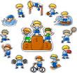 Набор векторных иконок мультфильм спорт