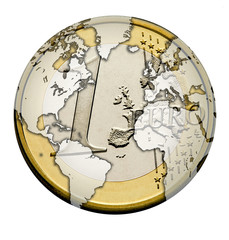 World on Euro Coin
