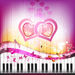 Piano keys with butterflies and hearts of love