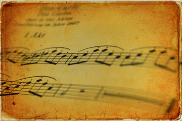 Musical scores on old paper - old card