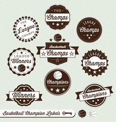 Vector Set: Basketball Champions Vintage Labels