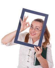 Business lady reveals ok looking out of frame