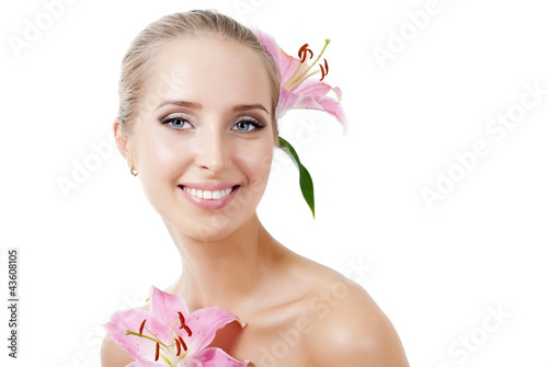 beautiful girl with a flower lily