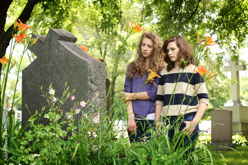 Girls at the cemetery