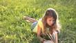 little girl on read book