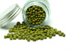 Organic Food; Green Mung Bean in Bottle on White Background