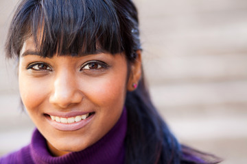 young indian woman face closeup