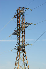 High- voltage tower sky background.