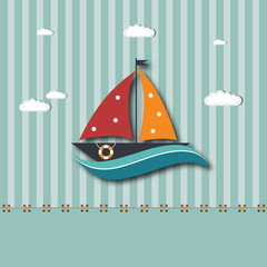 cartoon background with boat - EPS 10