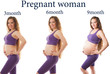 Pregnant woman fitness at different stages of pregnancy