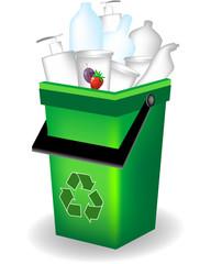 Bidone verde - riciclaggio plastica