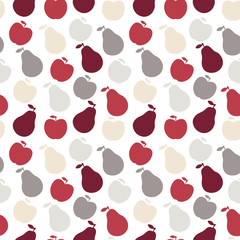 Vector seamless fruit pattern- apple and pear