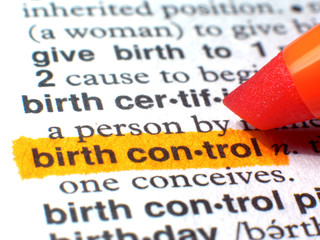 Birth Control Highlighted In Dictionary In Orange