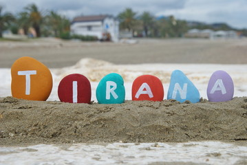 Tirana, capital of Albania on colourful stones