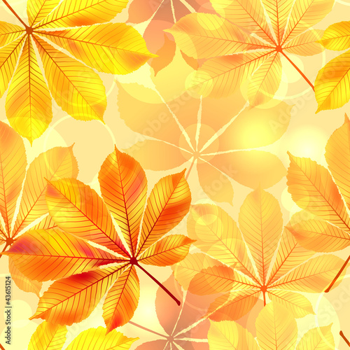 Autumn seamless background with leaves. Vector illustration.