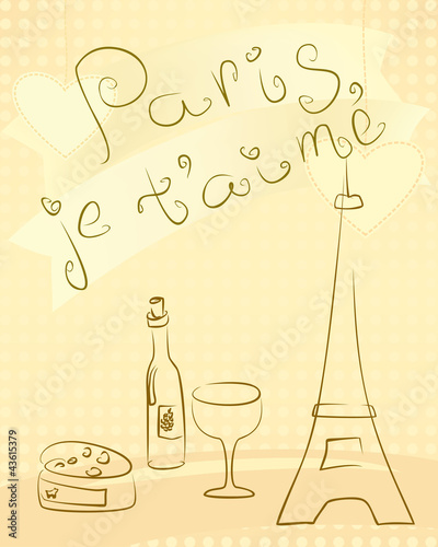 Tuinposter Doodle Paris - greting card