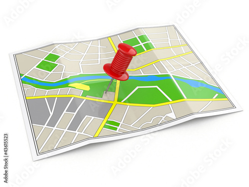 Location. Map and thumbtack. GPS concept.