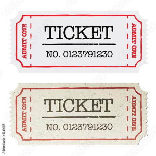 Vintage paper ticket, two versions. Vector illustration, EPS10.