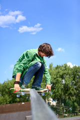 young skateboarder skating