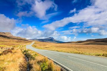 Road through a desolate landscape