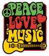 Peace Love Music in Rasta Colors