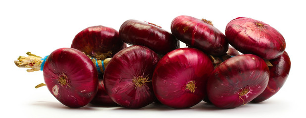 bunch of red onion isolated on white