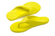 Yellow flip flops, white background