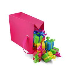 Rosa Geschenktasche mit Geschenken