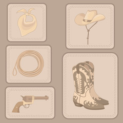 set of cowboy items