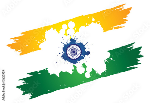 Indian tri-color national flag in orange or saffron, white and g