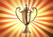 success concept , winner trophy on old antique vintage paper bac
