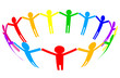 Vector colorful icon - people in circle
