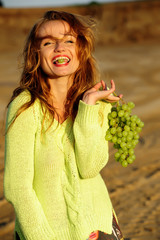 diet, eat, fresh, fun, fruit, girl, happy, health, grapes,