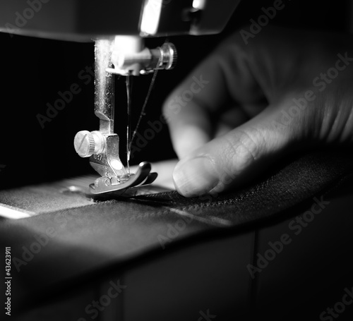 Seamstress Using Sewing Machine