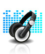 Vector illustration of headphones - blue background