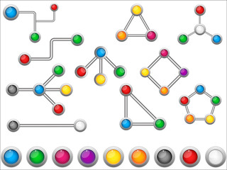 Connection Dots Colorful Circles