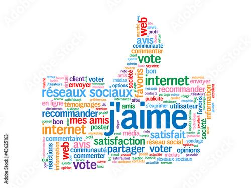 """Nuage de Tags """"J'AIME"""" (recommander partager voter like bouton)"""