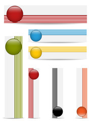 Glossy web buttons with colored bars.