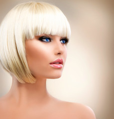 Blonde Girl Portrait. Blond Hair. Hairstyle. Stylish Make-up