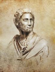 Brutus portrait illustration,  copy  of Brutus by Michelangelo