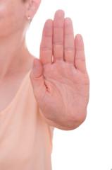 Frau hält die Hand nach vorne