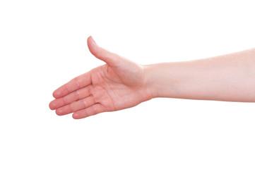 Offene Hand nach vorne strecken