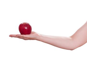 Roter Apfel der Verführung auf einer Hand