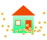 Vector illustration of gold coins & house
