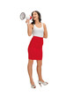 woman in blank white t-shirt with megaphone