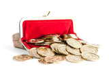 Scattered silver and gold coins are in hot red purse
