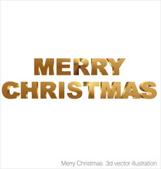 Merry Christmas 3d golden text